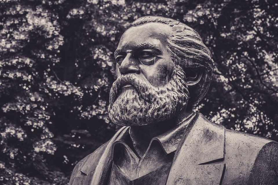 a bust of Karl Marx